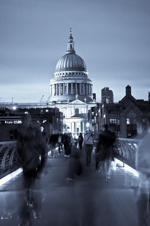 london ghosting st pauls cathedral millenium bridge people blur motion