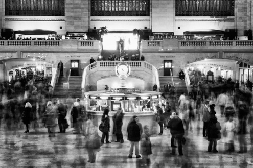 ghosting people grand central station black and white
