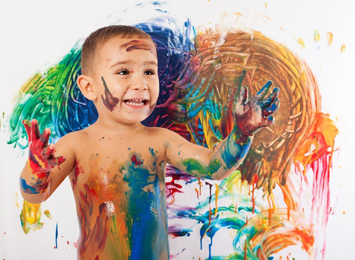 child with messy painting