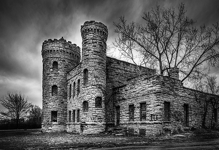 castle hdr black and white property building tree