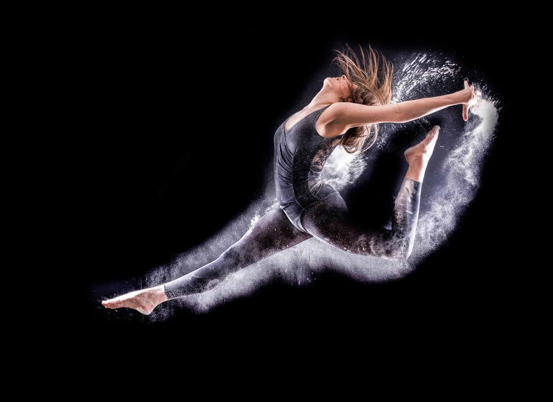 dancer jumper powder energy portrait action movement