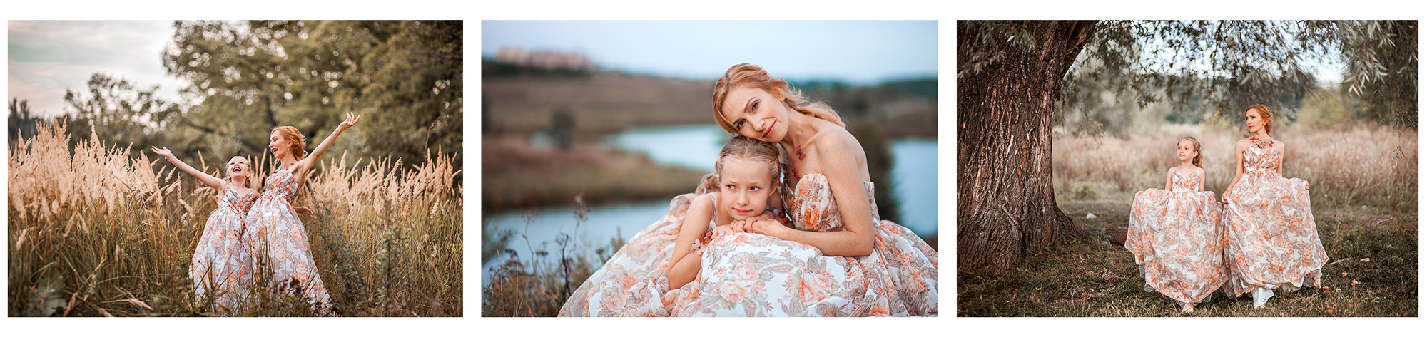 mother child daughter posing dress fields fun candid photography