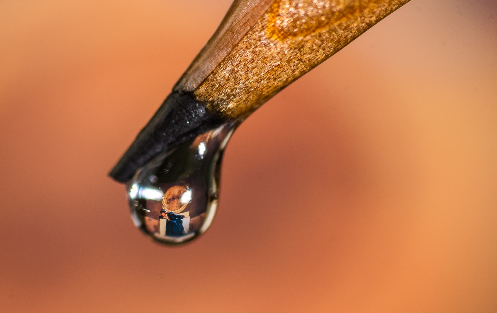 water drop macro pencil magnify orange