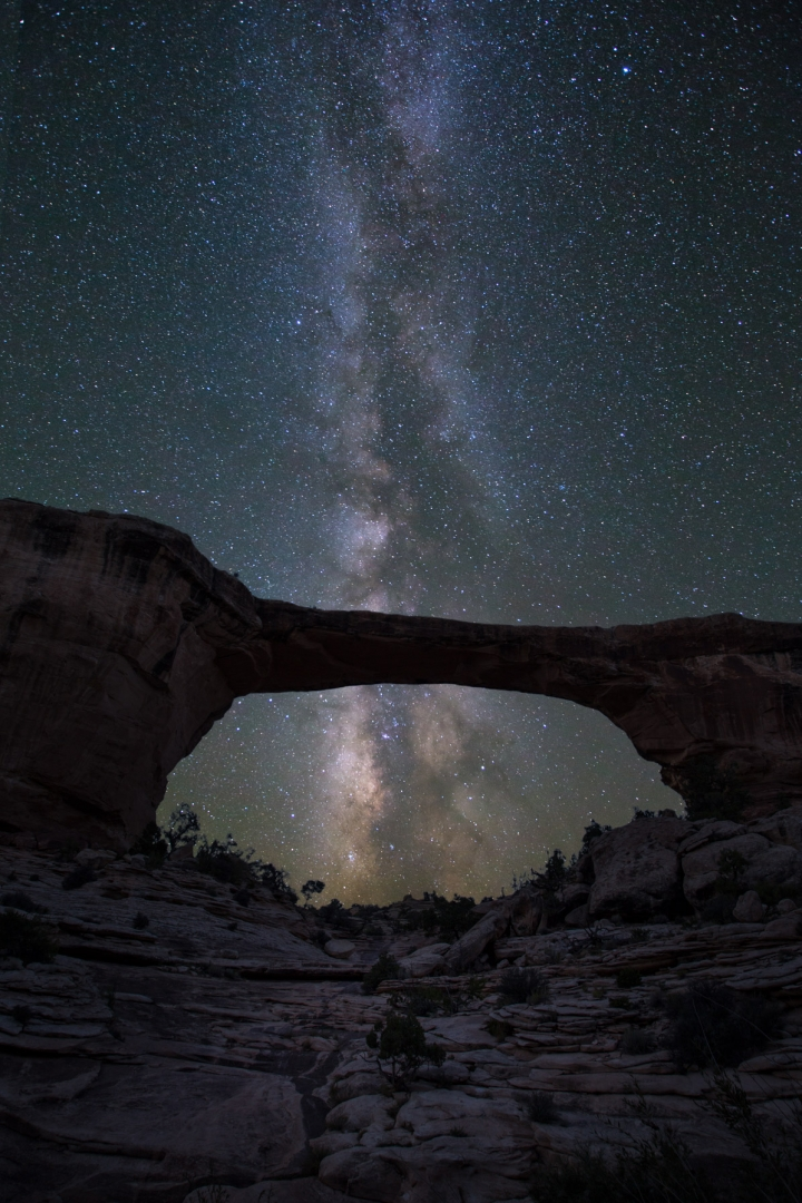 stars sky bridge rocks milky way long exposure