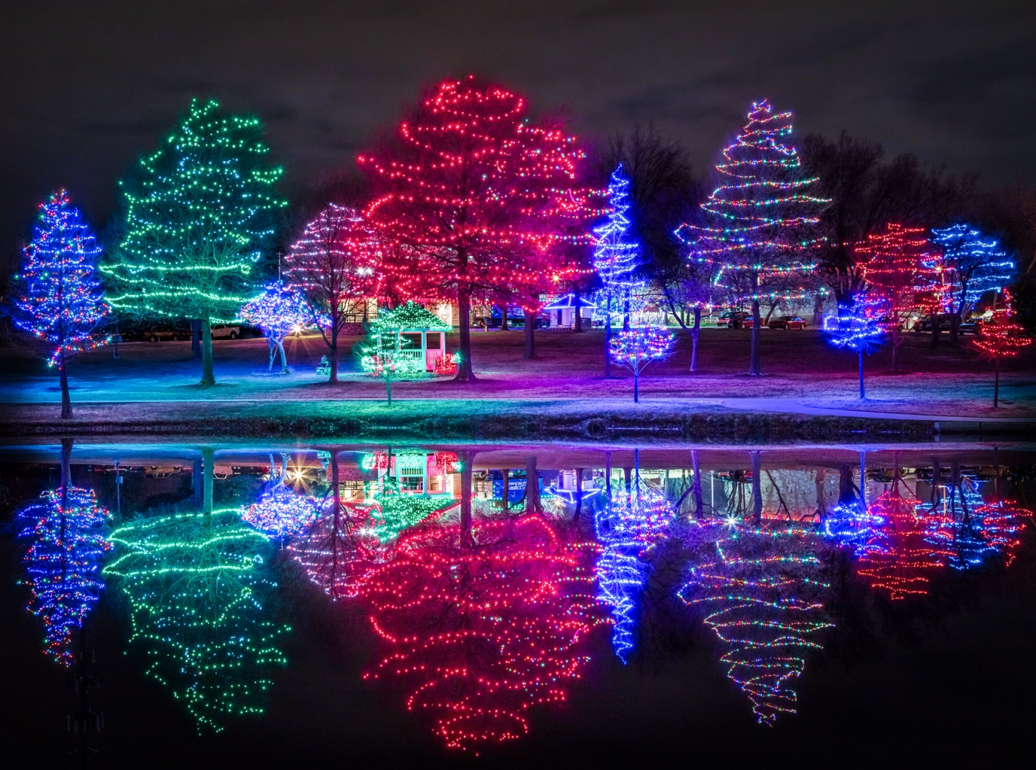 led christmas tree lights reflection