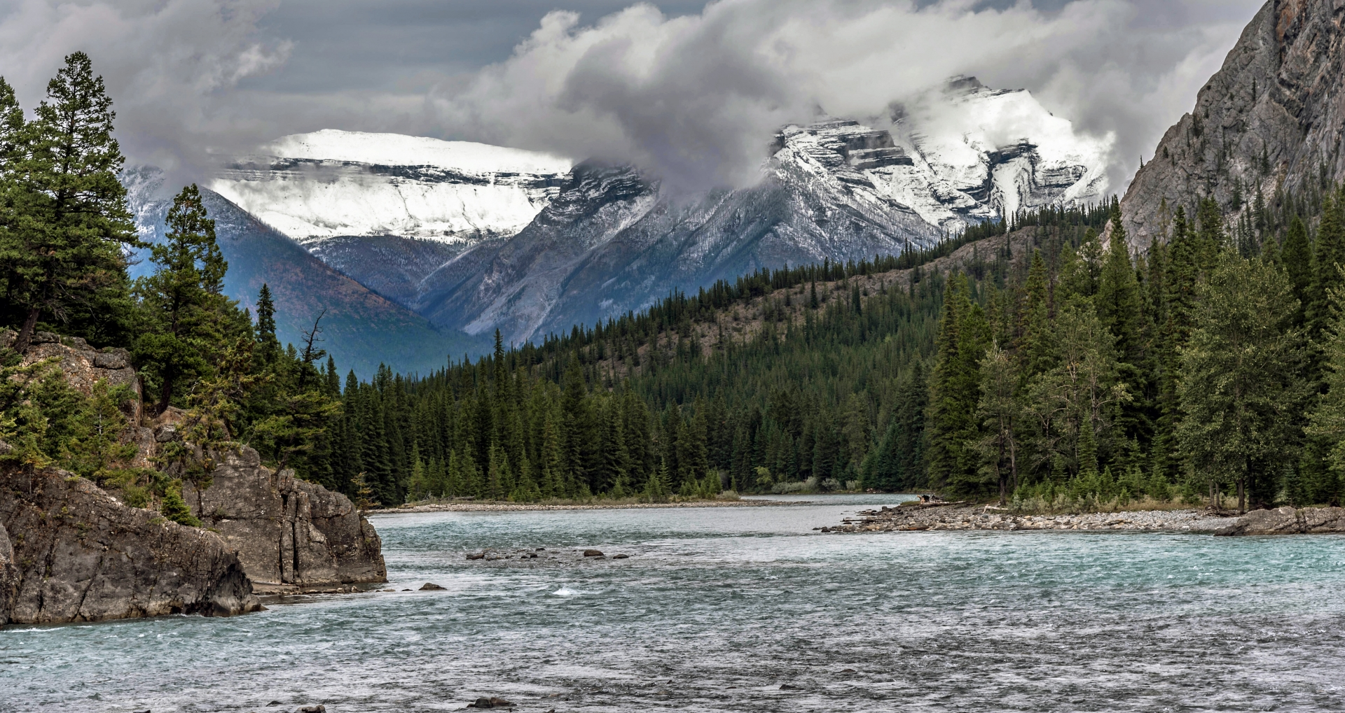 bow river canada water mountain snow
