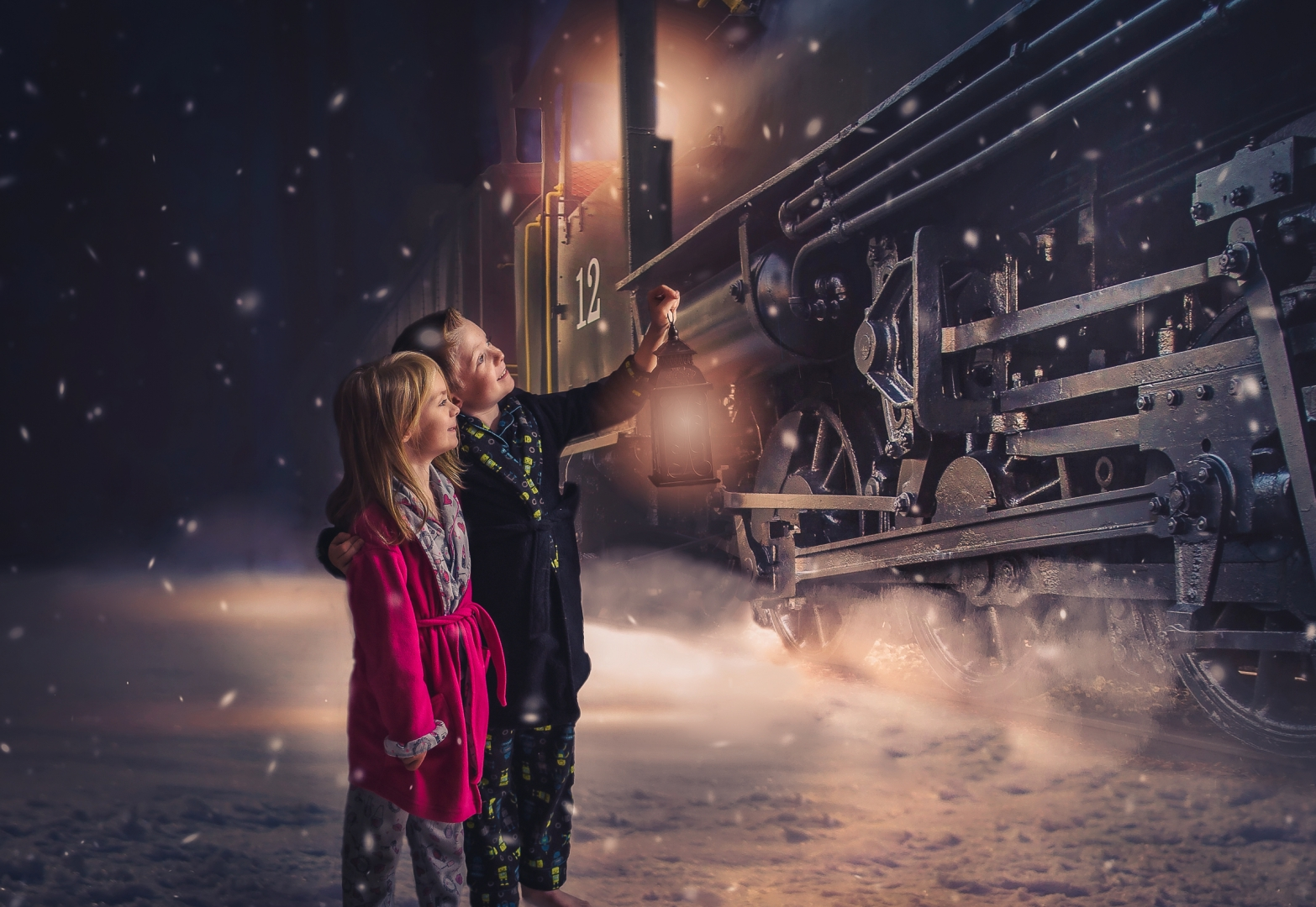kids train polar express edit photography