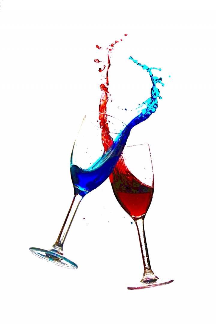 glass red blue splash cheers celebration