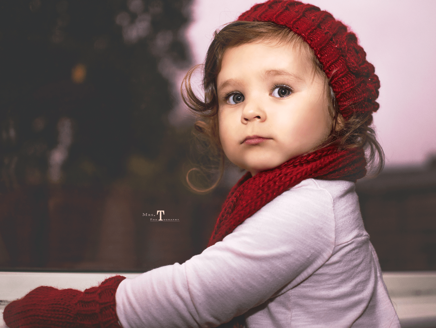 portrait child red hat scarf gloves girl toddler