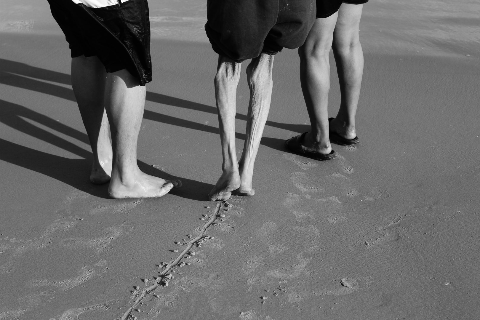 legs trail sand monochrome help shadow