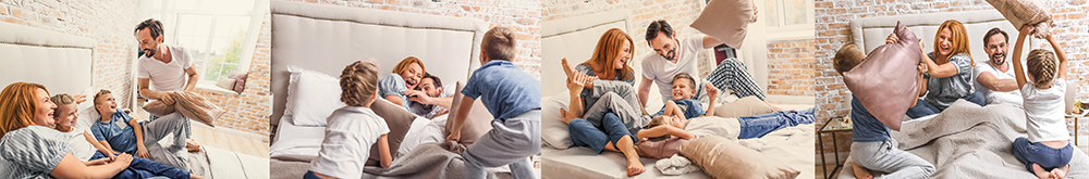 family portrait photography tips bed pillow fight