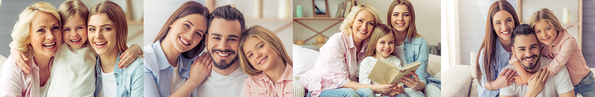 portrait photography family grandmother daughter children cuddle sofa posing father