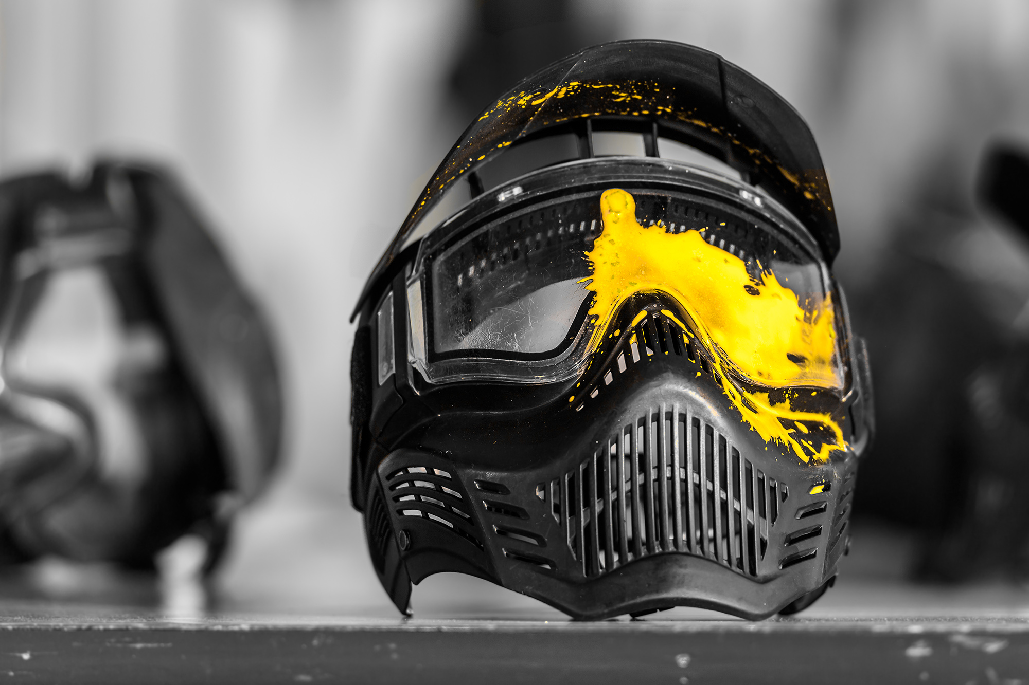 mask paint yellow paintball splash colour