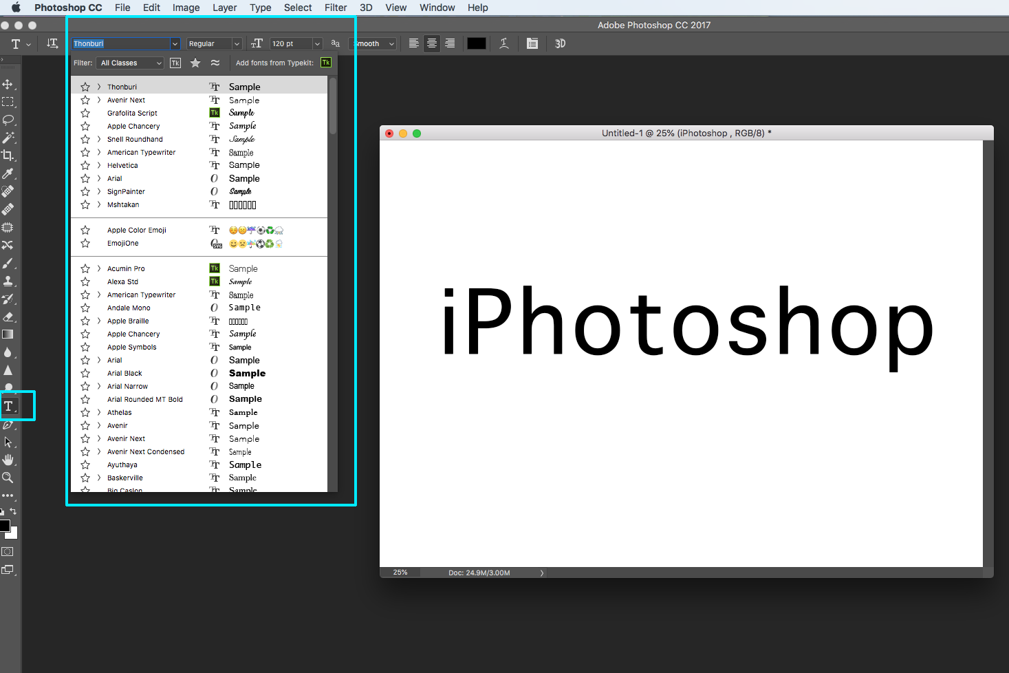 photoshop text screen panel screenshot logo