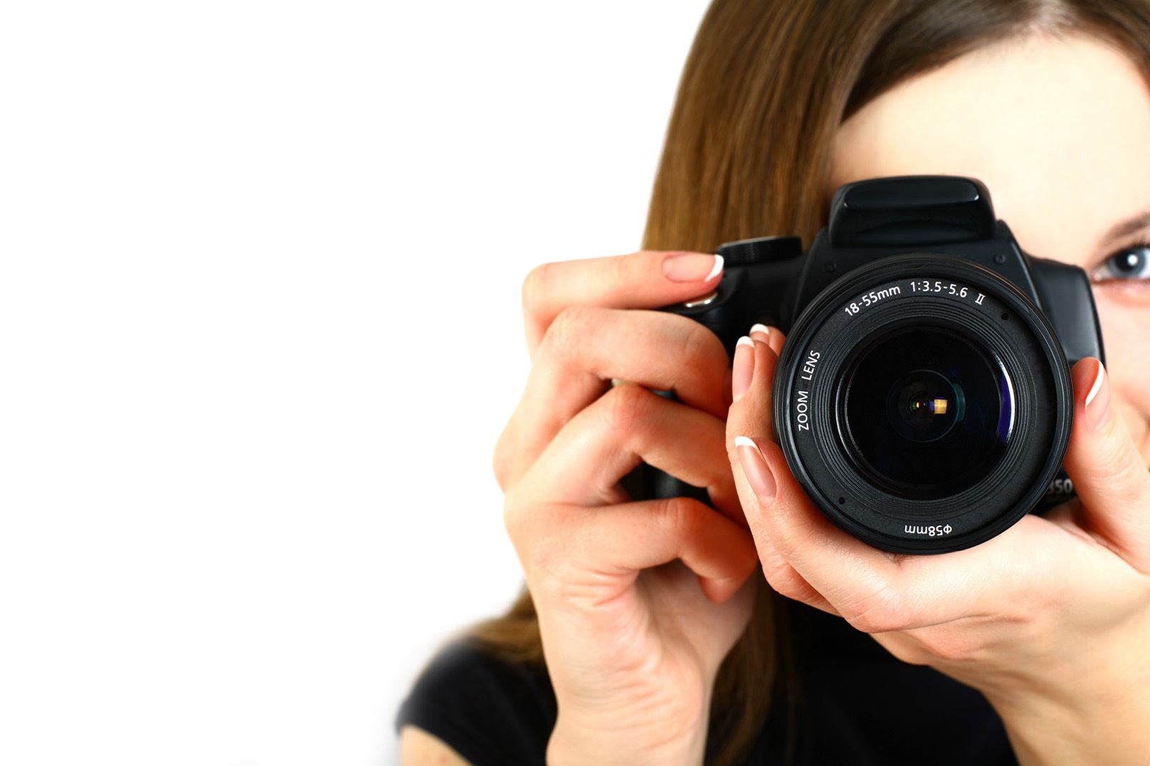 iPhotography camera lady photographer face hidden lens offset black