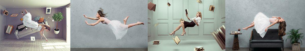 levitation floating ladies books model photography trick