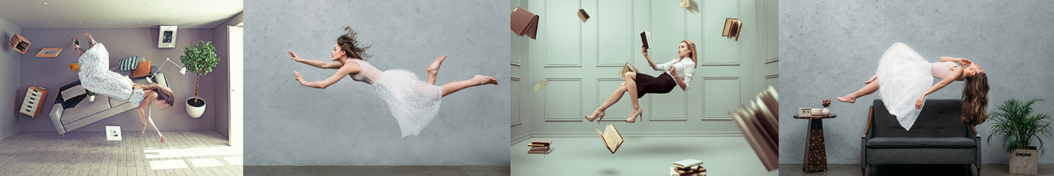 levitation floating ladies books model photography trick