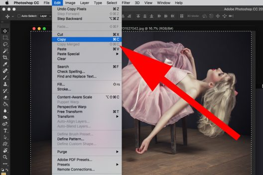 photoshop select all screen capture model pink dress copy edit
