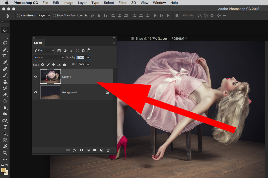 photoshop select all screen capture model pink dress 2 layers panel