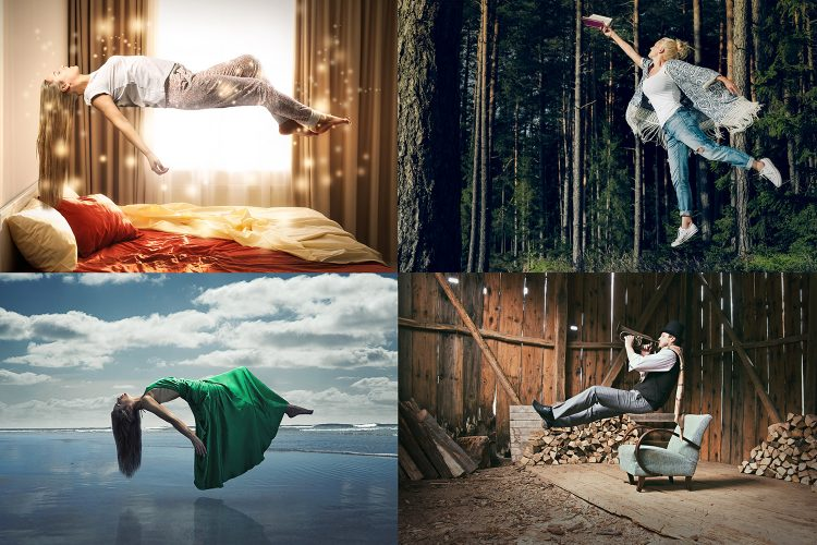 levitation photography floating people magical woods bedroom water beach
