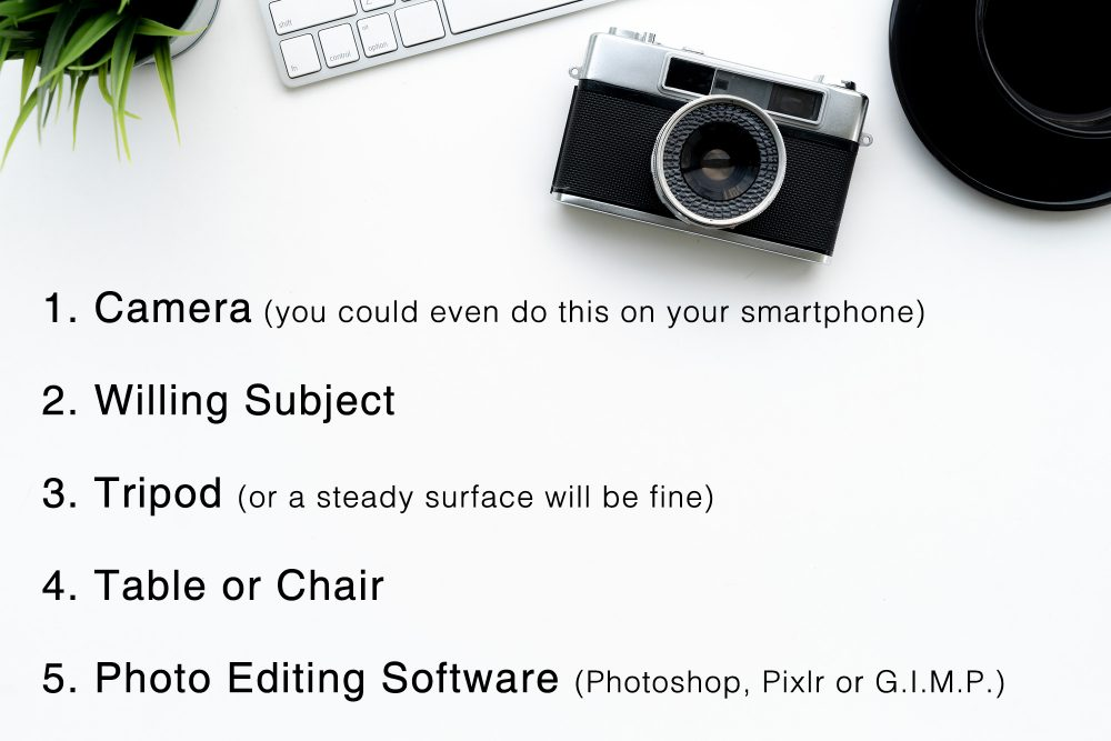 camera list flat lay table white black text writing plant green