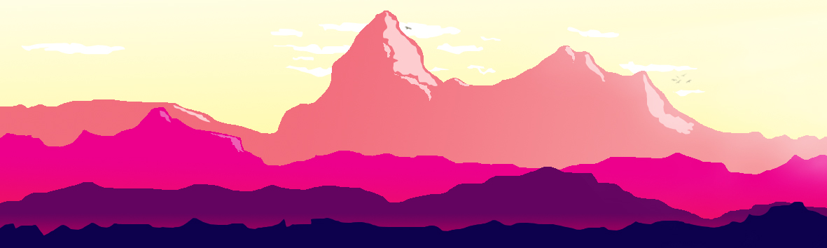 landscape 2d flat lay mountains hills birds pastel clouds photoshop editing