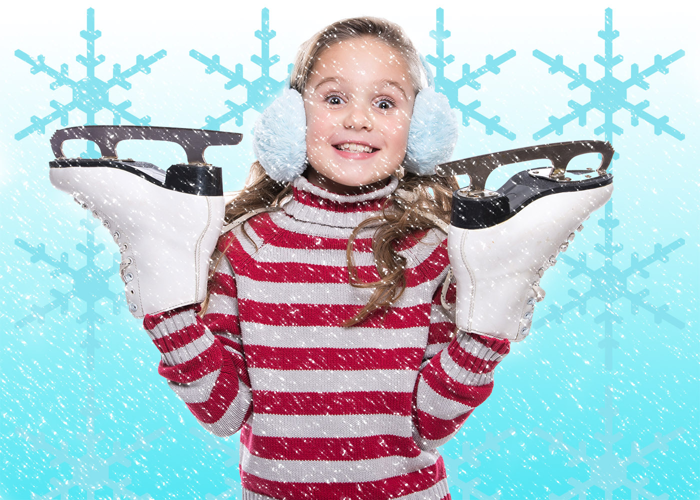 iphotoshop girl ice skating winter scene snowflakes red striped jumper earmuffs