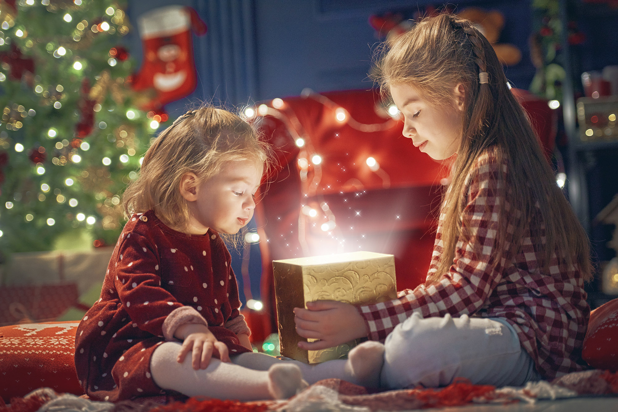 christmas children present glowing box light trick photography