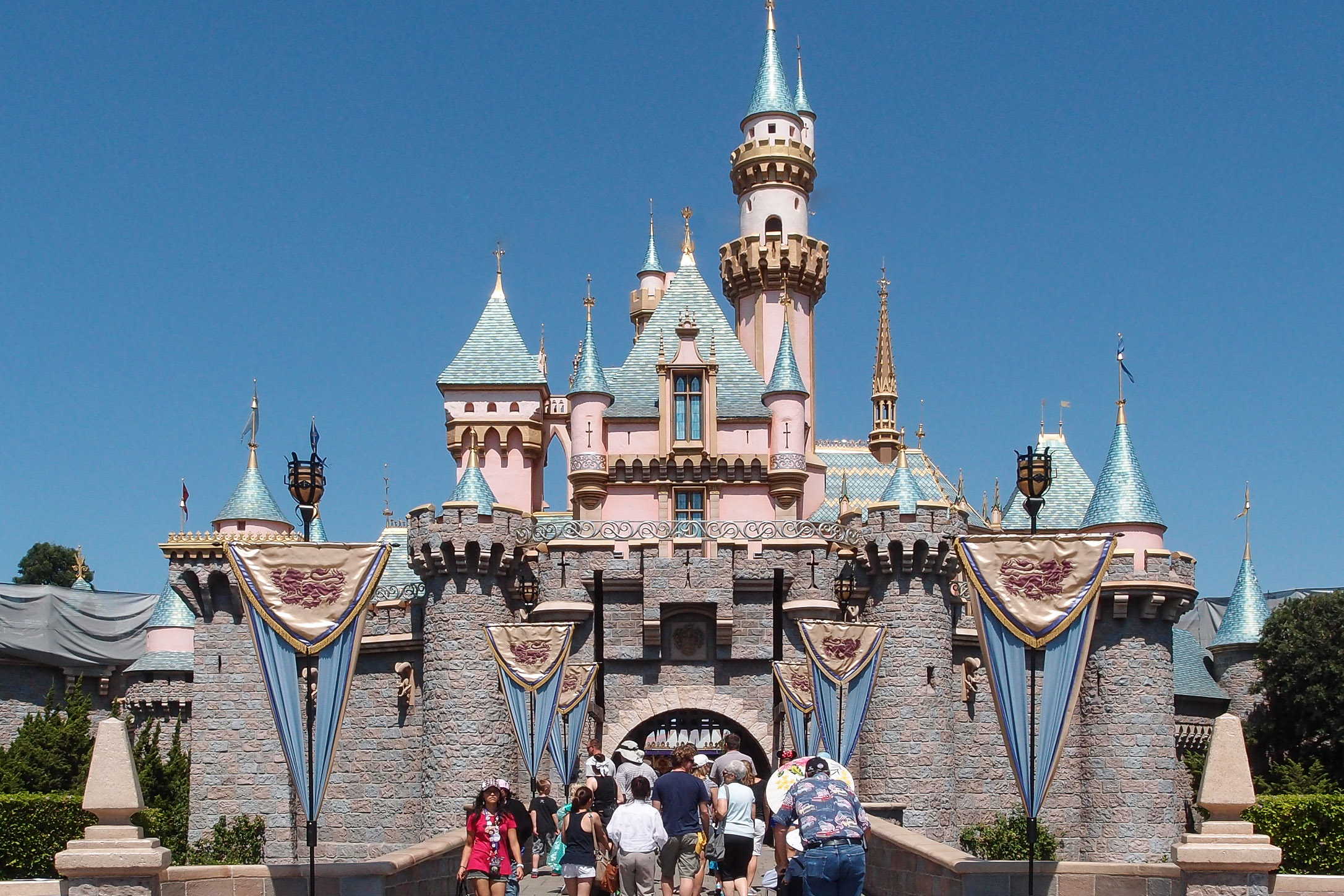 Disneyland California USA Princess Castle Pink Tower Blue Turret tourist destination
