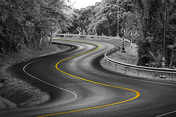 road yellow marking curves