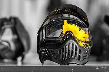 mask paint yellow paintball splash colour