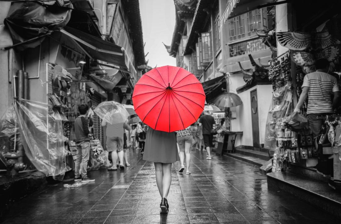 lady red umbrella market walking colour splash
