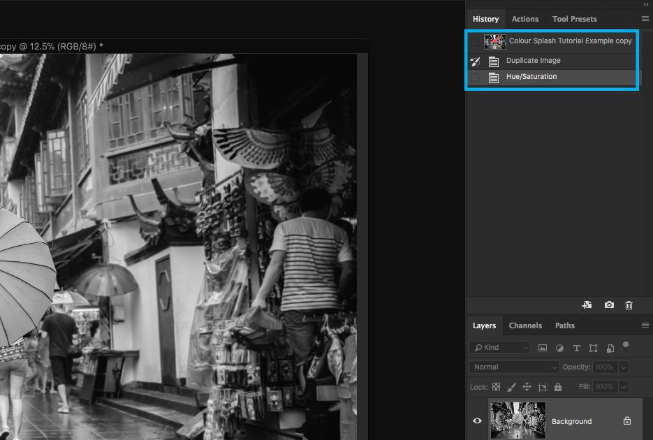 photoshop screen capture editing photography colour splash