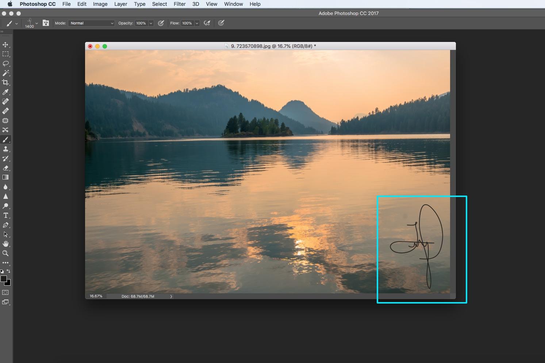 photoshop landscape photograph water mountains orange screenshot