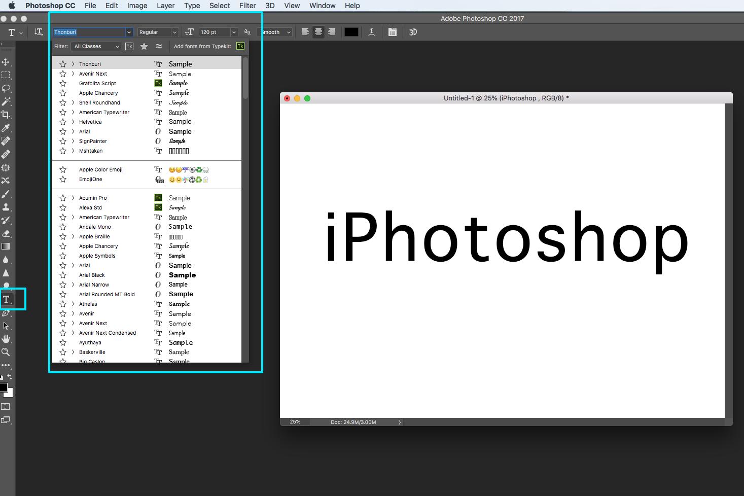 photoshop text screen panel screenshot logo
