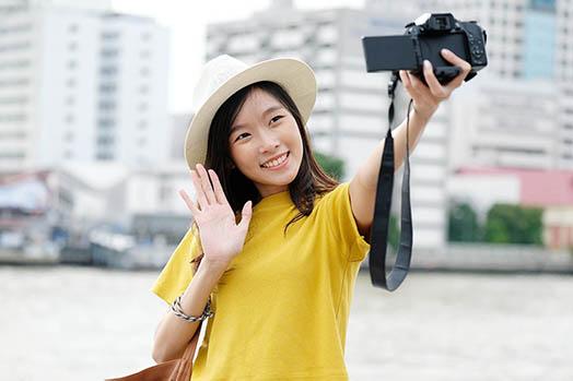 lady taking self portrait photographer