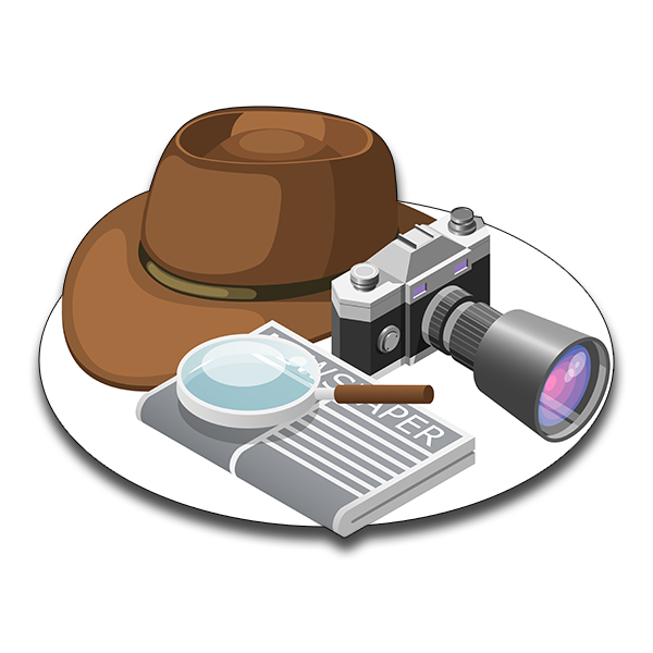 camera newspaper with detective hat